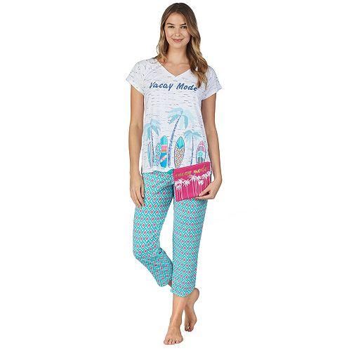 Women's Cuddl Duds Sleep Tee & Capri 3-Piece Pajama Set