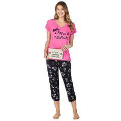 b3e5b222abb70 Women's Cuddl Duds Sleep Tee & Capri 3-Piece Pajama Set