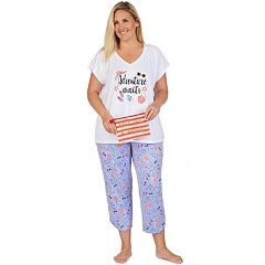 Plus Size Cuddl Duds Sleep Tee & Capri 3-Piece Pajama Set