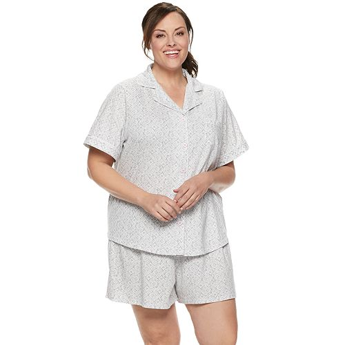 Plus Size Croft & Barrow® Sleep Shirt & Pajama Shorts Set