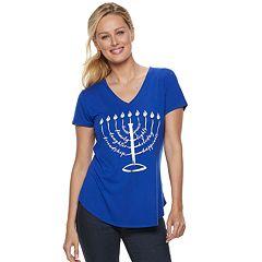 Women's Apt. 9® Graphic V-Neck Hanukkah Tee