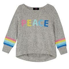 Girls 7-16 IZ Amy Byer 'Peace' Fuzzy Long Sleeve Top
