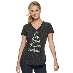 Women's Apt. 9® Graphic V-Neck Christmas Tee