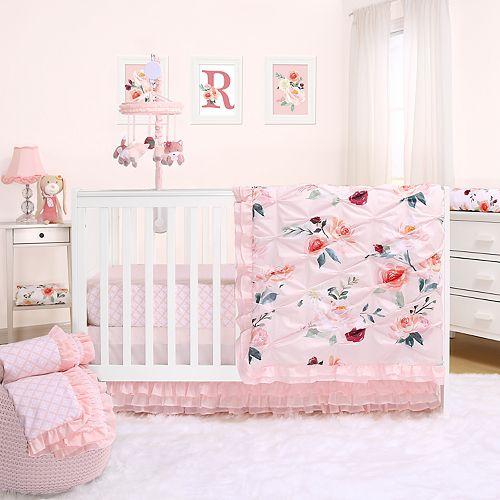 The Peanut Shell Rose 3 Piece Crib Bedding Set