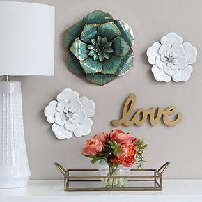 Stratton Home Decor Teal Flower Wall Decor