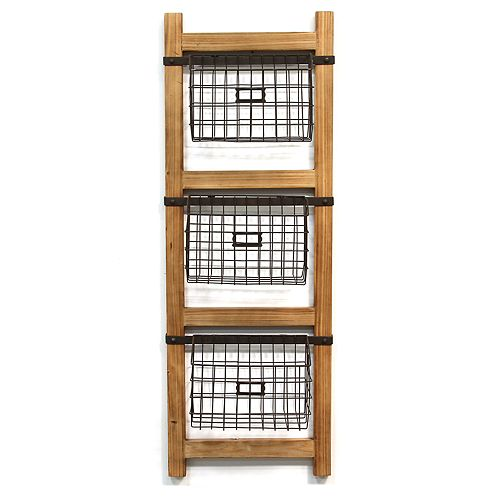 Stratton Home Decor Storage Basket & Ladder Wall Decor 4-piece Set