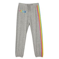 Girls 7-16 IZ Amy Byer 'Peace' Fuzzy Jogger Pants