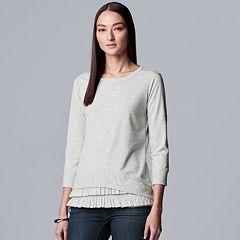 Petite Simply Vera Vera Wang Ruffle Layered-Hem Sweatshirt