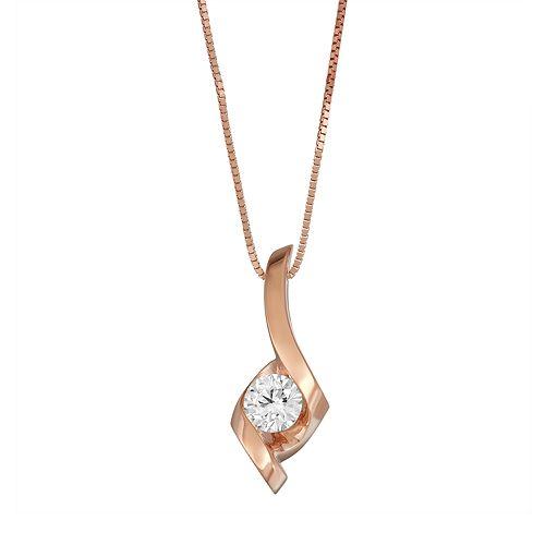 Sirena Collection 14k Rose Gold 1/4 Carat T.W. Diamond Wrap Pendant Necklace