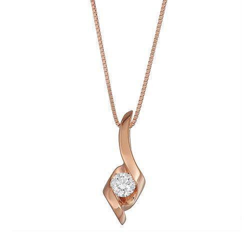 Sirena Collection 14k Rose Gold 1/8 Carat T.W. Diamond Pendant