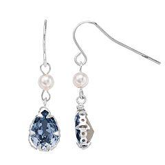 Brilliance Silver Tone Swarovski Crystal Drop Earrings