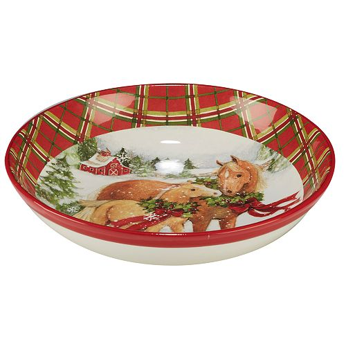 Certified International Christmas on the Farm Pasta Serving Bowl