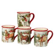 Certified International Christmas on the Farm 4-pc. Mug Set