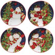 Certified International Starry Night Snowman 4-pc. Dessert Plate Set