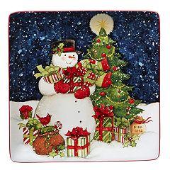 Certified International Starry Night Snowman Square Serving Platter