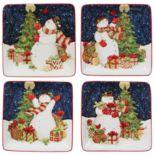 Certified International Starry Night Snowman 4-pc. Canape Plate Set
