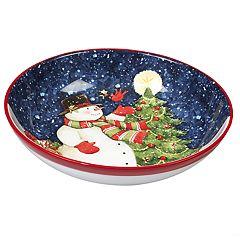 Certified International Starry Night Snowman Pasta Serving Bowl