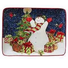 Certified International Starry Night Snowman Serving Platter