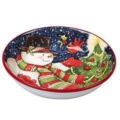 Certified International Starry Night Snowman 4-pc. Soup / Pasta Bowl Set