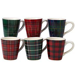Certified International Christmas Plaid 6-pc. Mug Set
