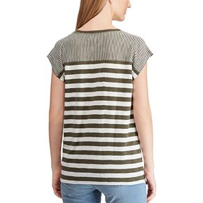Women's Chaps Pinstriped Short Sleeve Knit Top