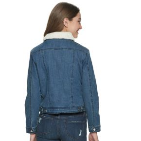 Juniors' madden NYC Denim Jacket with Sherpa Collar
