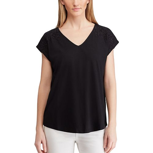 Women's Chaps V-Neck Short Sleeve Knit Top