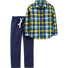 Boys 4-8 Carter's Plaid Shirt & Pull On Pants Set