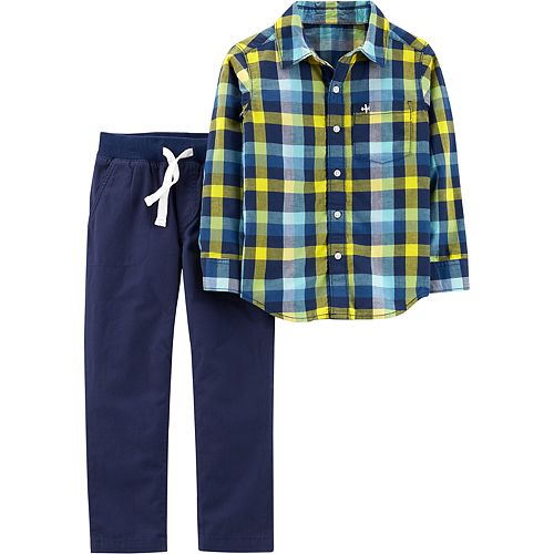 Boys 4-8 Carter's Plaid Shirt & Pull On Pants Set