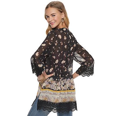 Juniors' Rewind Crochet Trim Kimono