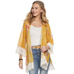 350e2e300f7 Juniors' Rewind Crochet Trim Kimono