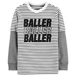 "Boys 4-14 OshKosh B'gosh® ""Baller Baller Baller"" Striped Mock Layer Tee"