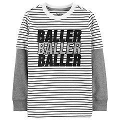 Boys 4-14 OshKosh B'gosh® 'Baller Baller Baller' Striped Mock Layer Tee