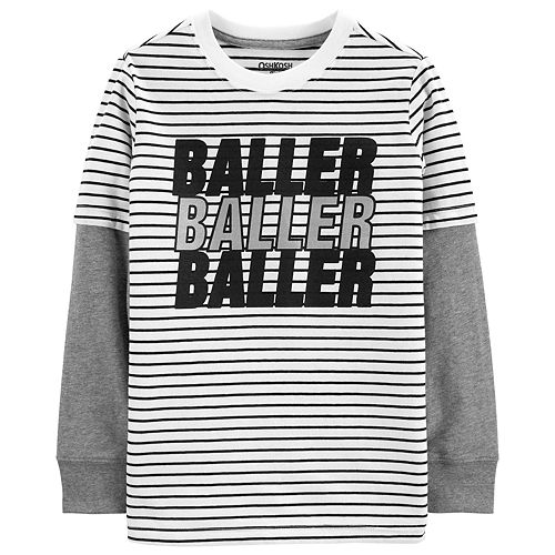 """Boys 4-14 OshKosh B'gosh® """"Baller Baller Baller"""" Striped Mock Layer Tee"""
