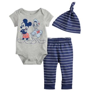 Disney's Mickey Mouse & Donald Duck Baby Boy Graphic Bodysuit, Striped Pants & Hat Set by Jumping Beans®
