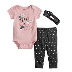 Disney's Minnie Mouse & Daisy Duck Baby Girl  Graphic Bodysuit, Polka-Dot Pants & Headband Set by Jumping Beans®