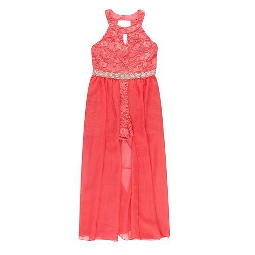 8b363d50125 Girls 7-16   Plus Size Speechless Lace Walk-Thru Maxi Romper