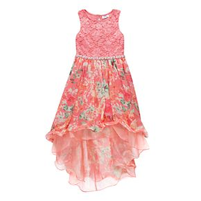 Girls 7-16 & Plus Size Speechless Lace to Floral Print High-Low Dress