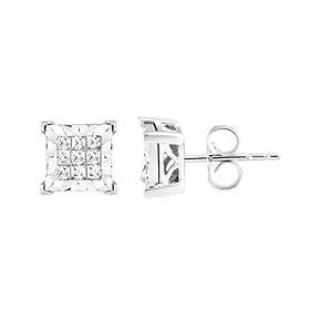 10k White Gold 1/3 Carat T.W. Diamond Princess Stud Earrings