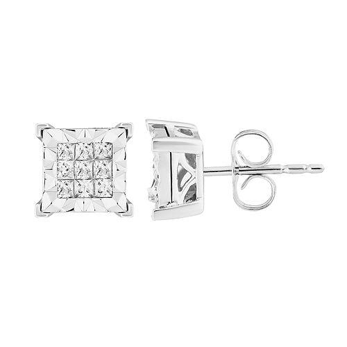10k White Gold 3/4 Carat T.W. Diamond Princess Stud Earrings