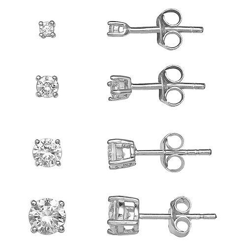 77a0396b84ee99 Primrose Sterling Silver Cubic Zirconia Graduated Stud Earring Set