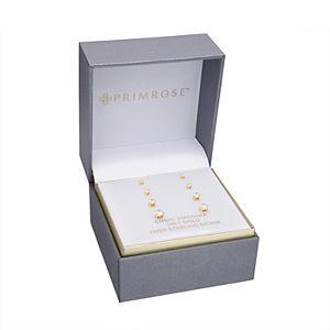 PRIMROSE Sterling Silver Cubic Zirconia Graduated Stud Earring Set