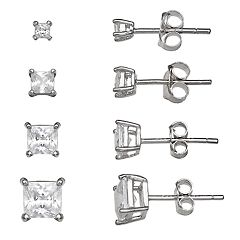 Primrose Sterling Silver Cubic Zirconia Princess Cut Graduated Stud Earrings Set