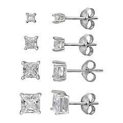 Primrose Sterling Silver Cubic Zirconia Princess Cut Graduated Stud Earrings Set
