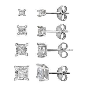 b794348b7e5217 Primrose Sterling Silver Cubic Zirconia Graduated Stud Earring Set. Sale