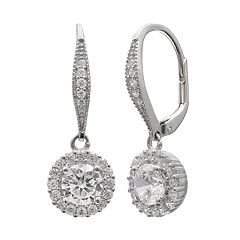 Primrose Sterling Silver Cubic Zirconia Circle Halo Drop Earrings