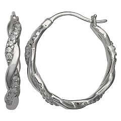 Primrose Sterling Silver Cubic Zirconia Twist Hoop Earrings