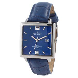 Peugeot Men's Modern Rectangular Leather Watch - 2062BL