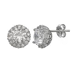 Primrose Sterling Silver Cubic Zirconia Circle Stud Earrings