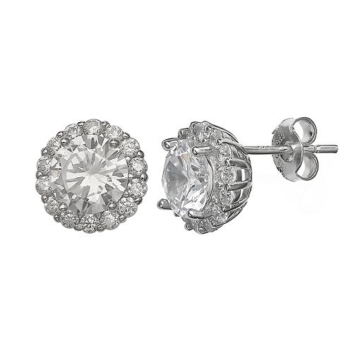 e00465a77 Primrose Sterling Silver Cubic Zirconia Circle Stud Earrings